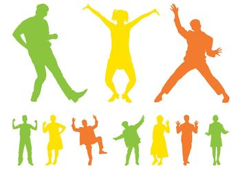 Happy People Silhouettes - vector gratuit #156349
