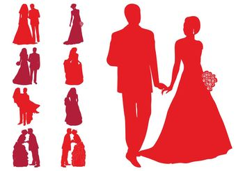 Wedding Silhouettes - vector gratuit #156399
