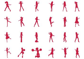 Jumping And Dancing Girls Set - vector gratuit #156449