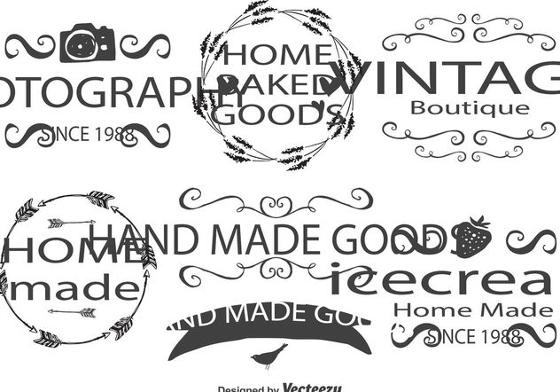 Cute Hand Drawn Style Label Set - Free vector #156589