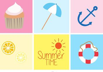 Summer Beach Doodles - vector gratuit #156779