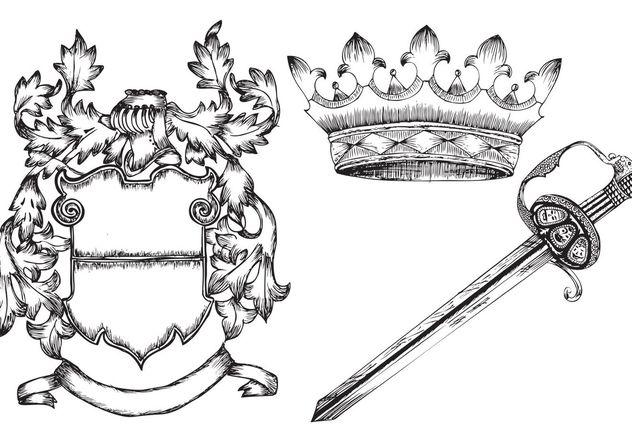 Hand Drawn Heraldic Elements - Free vector #157019