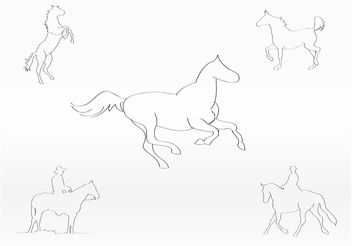 Horse Sketches - vector gratuit #157279