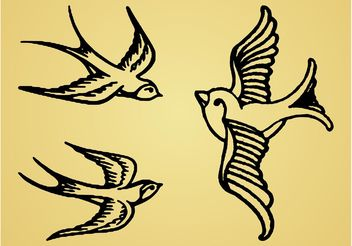 Retro Swallows Graphics - vector #157799 gratis