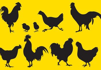 Rooster Silhouette Vectors - Free vector #157809