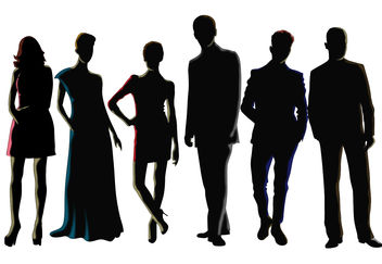 Men and Women Silhouette Vectors - vector gratuit #157839