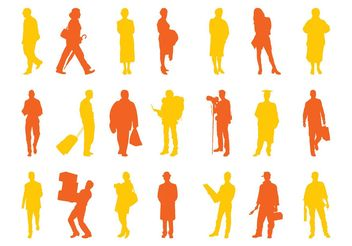 People Silhouettes Set Graphics - Free vector #157979