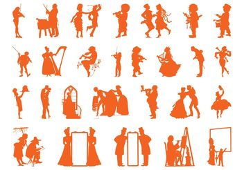 Vintage People Silhouettes Set - Free vector #157999