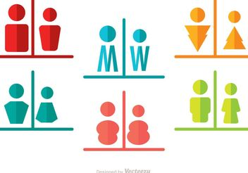 Man And Woman Rest Room Split Icons Vector Pack - Free vector #158049