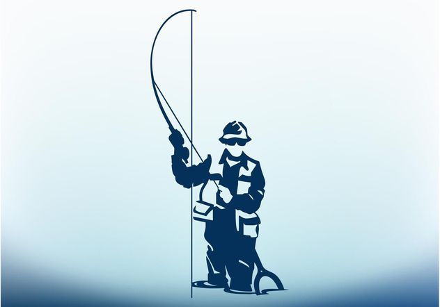 Man With Fishing Pole - vector gratuit #158109