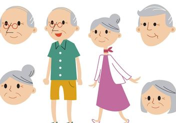 Senior Couple Vector Set - Free vector #158149