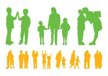 Children And Parents Silhouettes - vector gratuit #158189