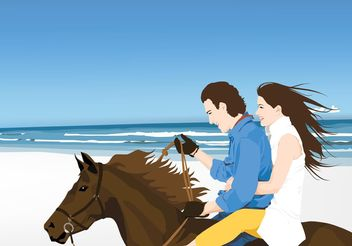 Horse Riders on Beach - vector gratuit #158209