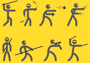 Ninjas Silhouette Vectors - Free vector #158309
