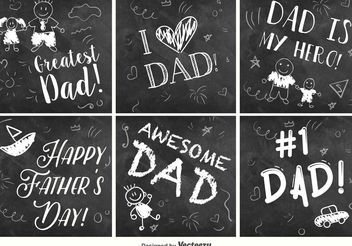 Happy Father's Day Chalkboard signs - Free vector #158489