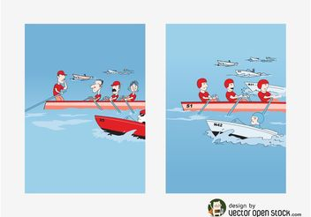 Rowing Vectors - Free vector #158639