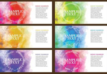 Boho Watercolor Banners - бесплатный vector #159479