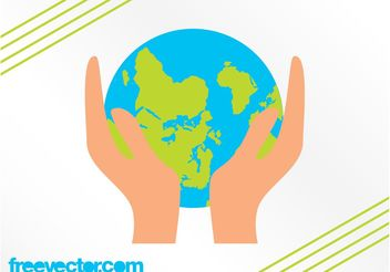 Hands Holding Earth - vector gratuit #159879