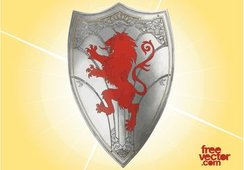 Knight Shield with Lion - Free vector #160109