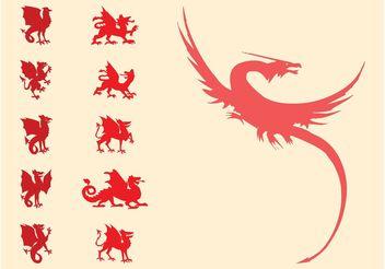 Heraldic Dragons Set - Free vector #160169