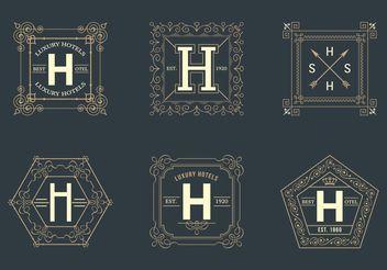 Free Retro Square Hotel Logos Vector - Free vector #160279