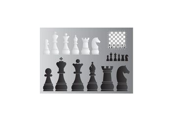 Chess Board and Pieces - vector gratuit #160329