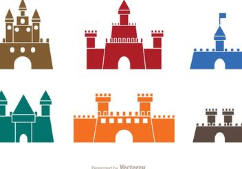 Colorful Castle Icons Vector - vector gratuit #160369