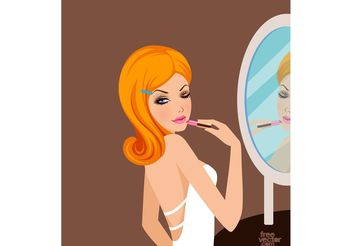 Pretty Girl With Lipstick - Free vector #160749