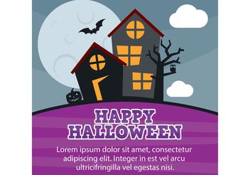 Halloween Haunted House Vector Card - vector gratuit #161839