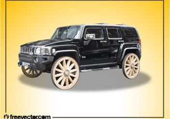 Hummer With Wooden Wheels - vector gratuit #162139