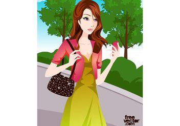 Girl With Phone - vector gratuit #162339