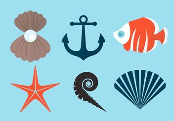 Pearl Shell and Other Vector Elements - Free vector #162579