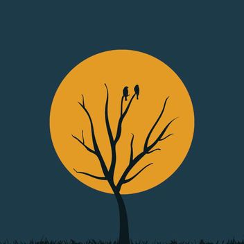 Moon Tree Night Silhouette - vector gratuit #162789