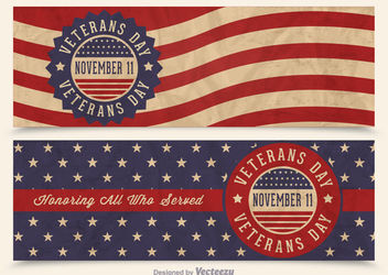 Veterans Day USA Flag Banners - vector gratuit #162799