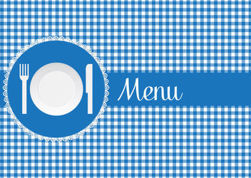 Blue Checked Restaurant Menu Cover - vector gratuit(e) #162899