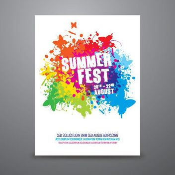 Summer Fest Colorful Splashed Poster - Free vector #163019