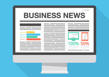 Business News Layout Monitor - vector #163059 gratis