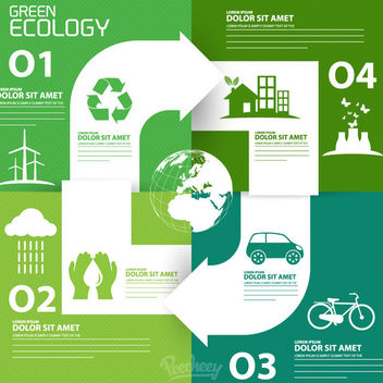Recycling Arrow labeled Ecology Infographic - Free vector #163159