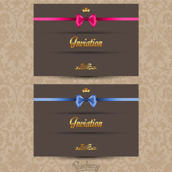 Classy Invitation Card with Ribbon - vector #163209 gratis