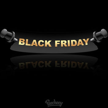 Black Friday Push Pin Banner - vector gratuit #163219
