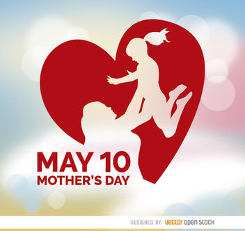 Mother's Day raising daughter heart - бесплатный vector #163279