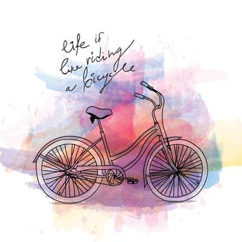 Bicycle Ride Painted Poster - vector gratuit #163289