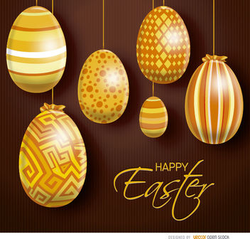 Hanging orange Easter eggs - vector gratuit #163469