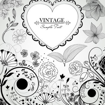 Hand Drawn Vintage Flowers Heart - vector gratuit #163509