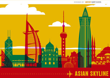 Asian skyline landmarks - vector #163519 gratis