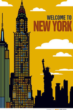 New York buildings sunset - Free vector #163719