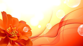 Orange Abstract Flower Waves Background - Free vector #163729