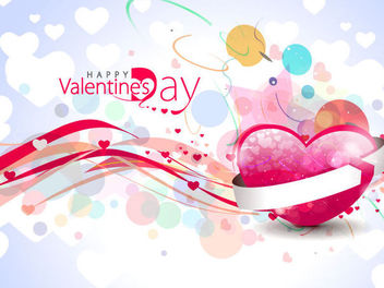 Colorful Abstract Bokeh & Hearts Valentine Background - Free vector #163989