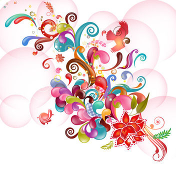 Colorful Abstract Floral & Swirls on Bubbles - Free vector #164029