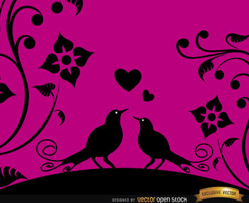Love birds pink floral background - Free vector #164079